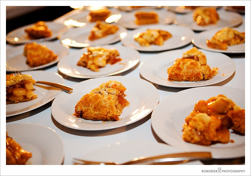Pie was served at this wedding reception in Pasadena, California