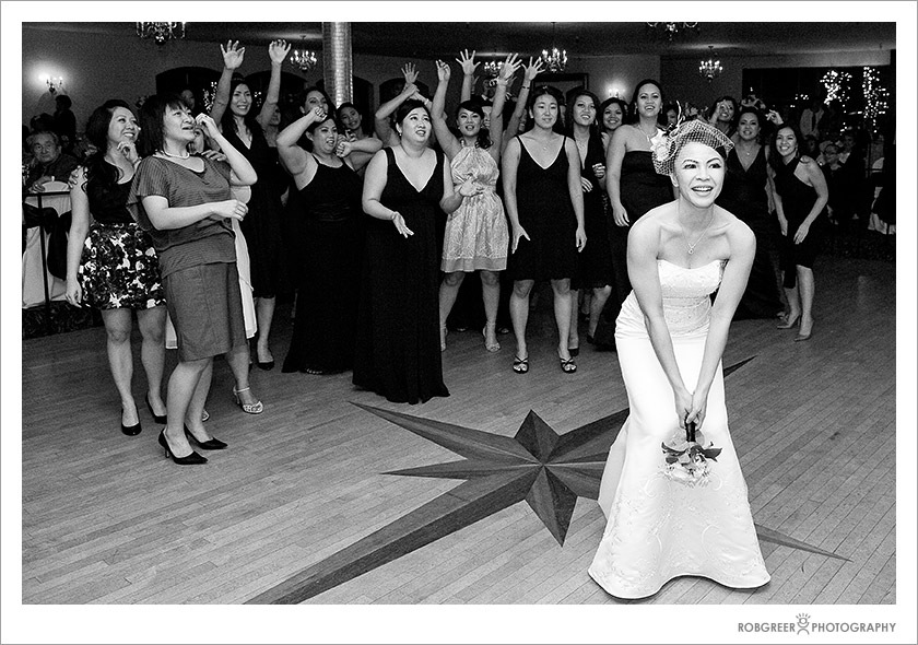 Bride Tosses Bouquet at Royal Vista Country Club