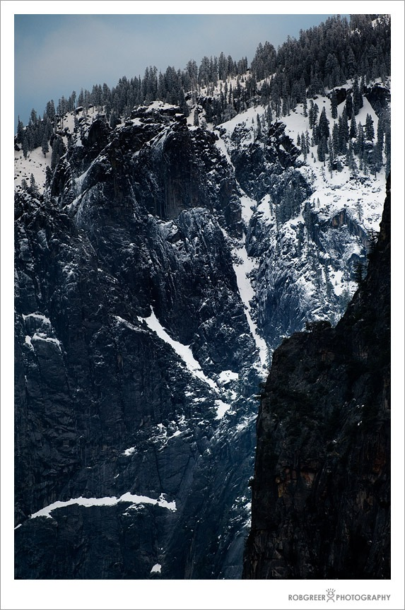 Snow and Rock Outcropping in Yosemite