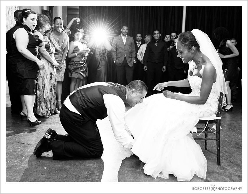 Garter Dive at Wedding at The Mark for Events in Los Angeles