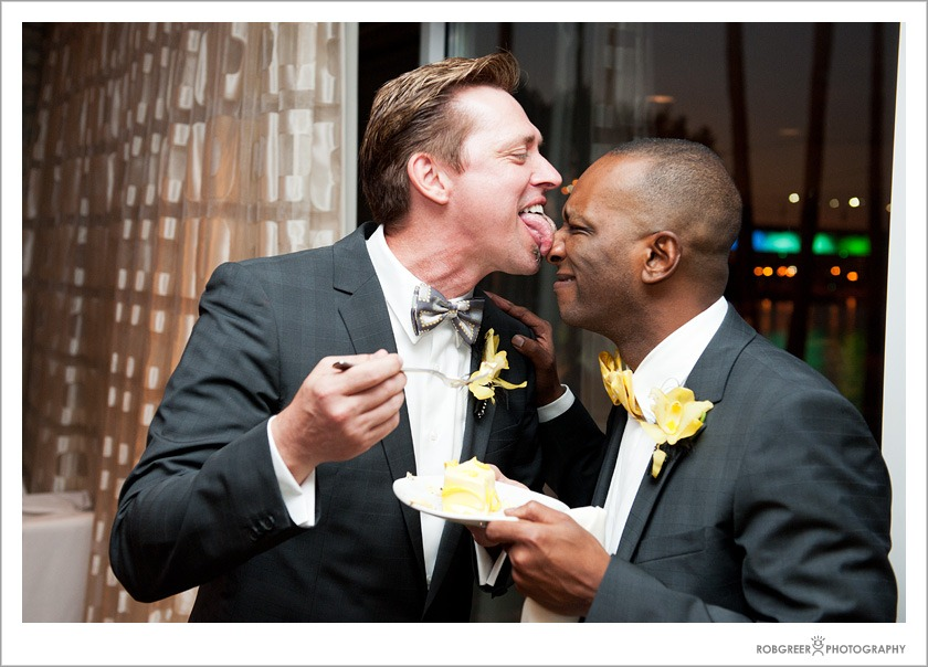 Gay Grooms with Wedding Cake