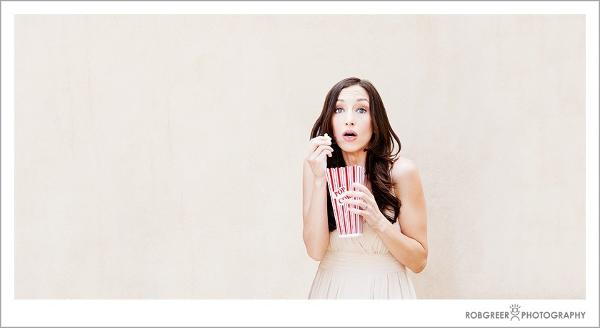 Eating Popcorn before Los Angeles Wedding